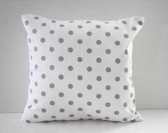 Decorative Pillow Cover, Pillow Sham, White and Gray Polka Dots Pillow Sham, 18x18, Home Decor, Throw Pillow