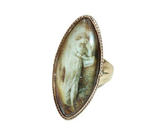 Georgian Navette Mourning Ring With Lady Reading Poetry