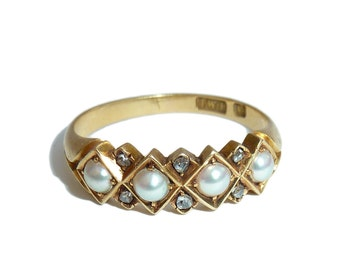 Victorian 18 Carat Pearl And Diamond Band