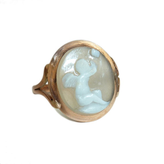 Early Victorian High Carat Cameo Ring Depicting Cu