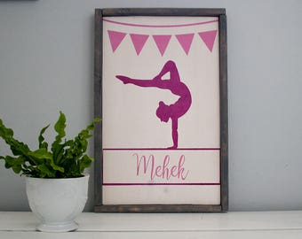 Personalized Gymnast Sign- Custom Wooden Sign- Framed- Rustic
