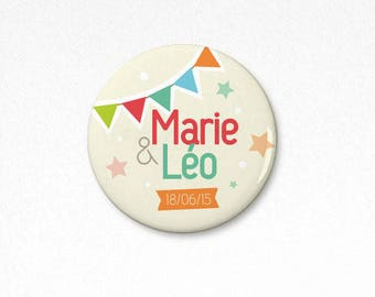 Lot 25 badges party customizable 38 mm (wedding, birthday or baptism)