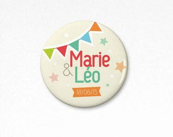 Lot 50 Badges party customizable 38 mm (wedding, birthday or baptism)