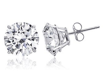 6a9d7a3d1 14K Solid White Gold Minimalist Round-Cut Solitaire Cubic Zirconia Stud  Post Earrings