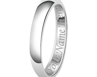4mm Personalized Name Engraving Classic Sterling Silver Plain Wedding Band Ring