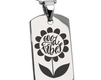 06059766619 Stainless Steel Good Vibes Sunflower Engraved Dog Tag Pendant Necklace    Silver   Black   Gold   Rose Gold
