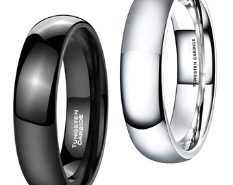 Size Yorktek 5mm Ladies Mens Tungsten Carbide Ring Classic Domed Wedding Band Ring High Polished Silver Tone White Clear Comfort Fit Available in Sizes 5 to 8