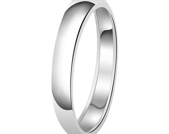 Stainless Steel Matte Finished Chain Link Half-Round Band Ring