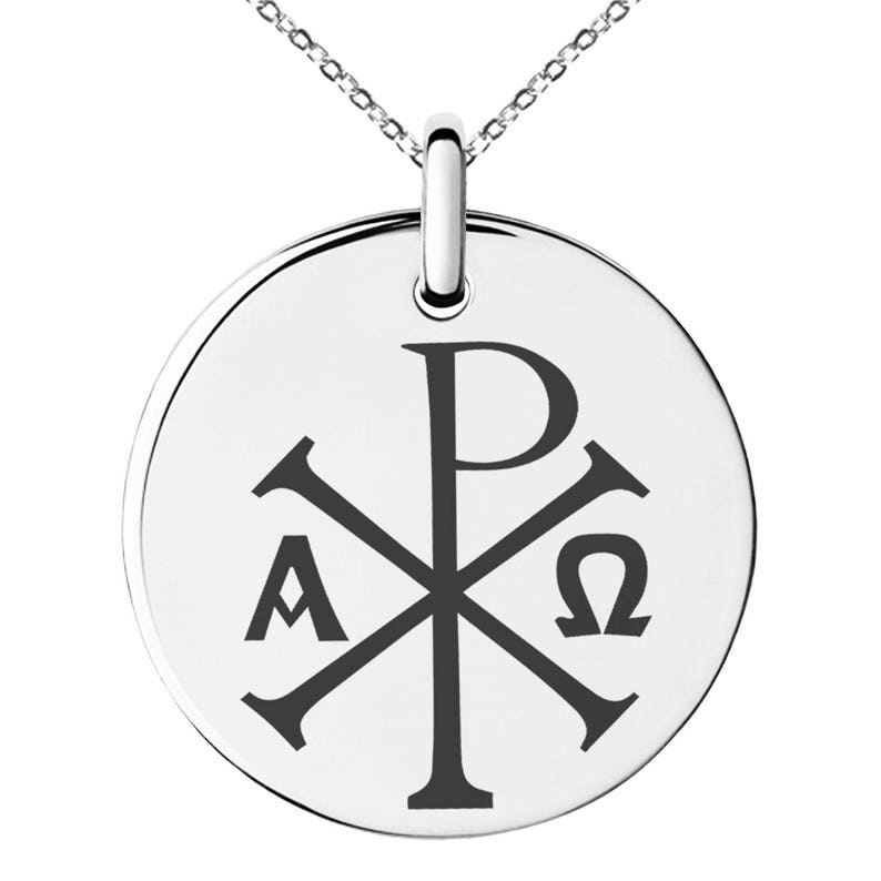 5641f5e588843 Stainless Steel Chi Rho Alpha Omega Symbol Engraved Small Medallion Circle  Charm Pendant Necklace / Silver / Black / Rose / Gold
