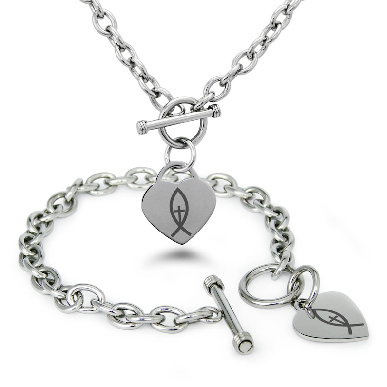 Stainless Steel Vertical Ichthus Cross Fish Symbol Heart Charm Toggle Bracelet /& Necklace Set  Silver  Rose  Gold