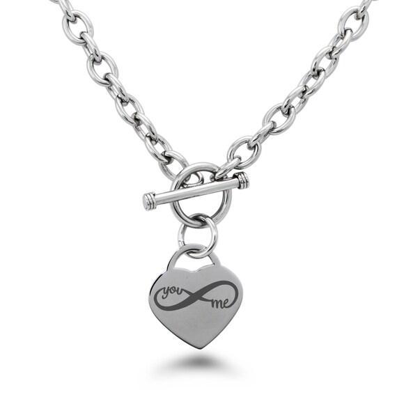 Edelstahl dir und mir unendlich Herzanhänger Halskette     Etsy 4bc87aaf5f