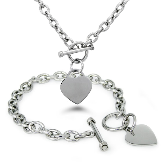 Stainless Steel 316L Minimalist Heart Tag Charm Toggle Bracelet & Necklace Set ~ Available in : Silver | Gold | Rose Gold
