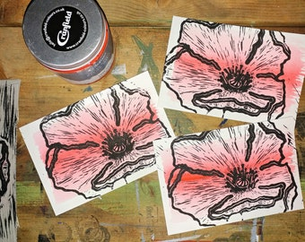 4x6 hand carved linocut print red poppy bloom on  postcard