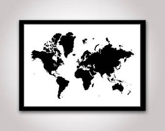 Map Of World Silhouette.World Map Silhouette Etsy