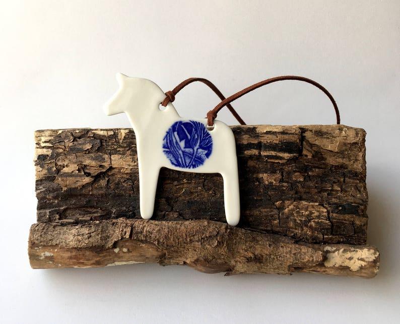 Scandi Christmas ceramic horse decoration Scandi tree decoration Handmade Christmas decoration porcelain horse dala horse horse decor