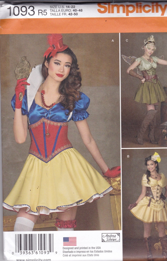 Simplicity 1093/0679 Costume Pattern Womens -Snow White, Fairy, or Bar Maid  Costume Size 14,16,18,20,22 UNCUT