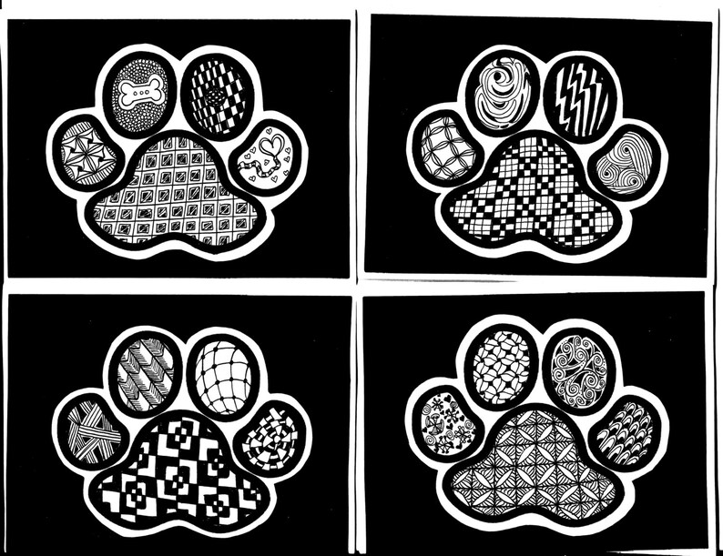 Zentangled Paw Print Greeting Cards  Originals, No Photocopies