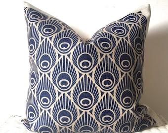 Navy Cushion Cover, Peacock Cushion, Navy Peacock Cushion, Art Deco Cushion, Navy Blue Cushion, Pattern Cushion, Navy Throw Pillow