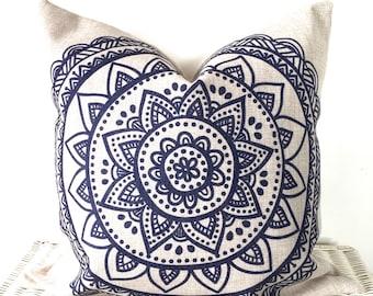 Bohemian cushion, mandala cushion, boho cushions, lotus flower pillow, hippie pillow cover, navy cushion, decor cushion, throw pillow