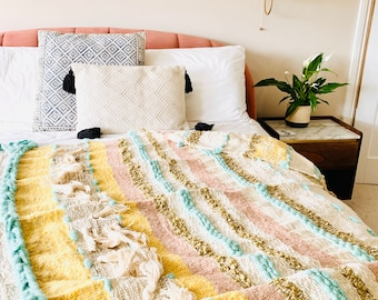 Tufted yellow throw, Textured bed spread, Mudcloth blanket, Bohemian bed throw, Textured throw, Wool blanket, Blue and yellow throw