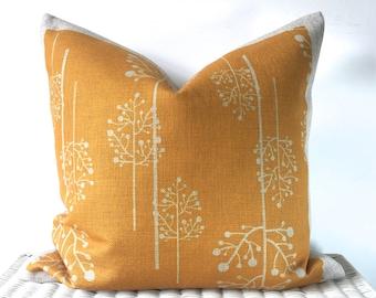 Mustard cushion, orange cushion, mustard throw pillow, sofa cushion, bedroom decor, accent cushion, linen pillow