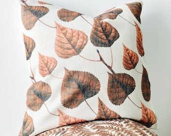 Leaf Cushion Cover, Botanical Leaves Cushion, Brown cushion cover, Nature cushion, Garden cushion, Burnt Orange cushion, burnt orange decor