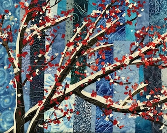 Spring Glory - art quilt mounted on stretched canvas frame