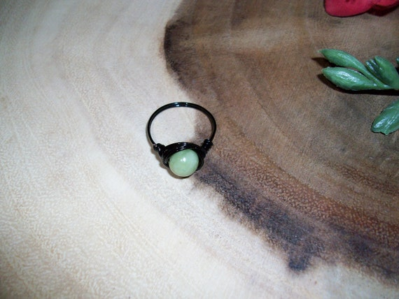 Jade 8mm Black Color Wire Wrapped Ring