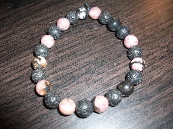 Rhodonite and Black Lava Stone 8mm Gemstone Stretch Bracelet