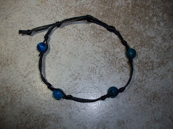 Blue Agate Stackable Knotted Bracelet