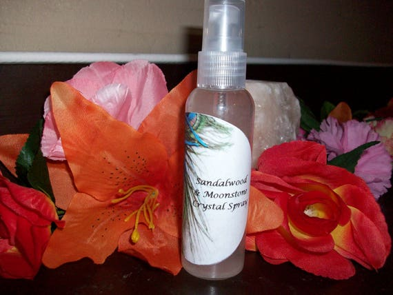 Sandalwood and Moonstone Crystal Spray 2 oz Bottle