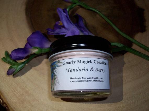 Handmade Mandarin and Berry 4 oz Jar Candle