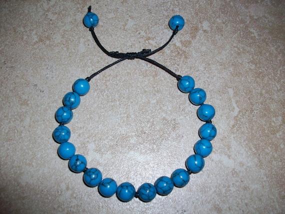 Blue Howlite Slide Knot Bracelet