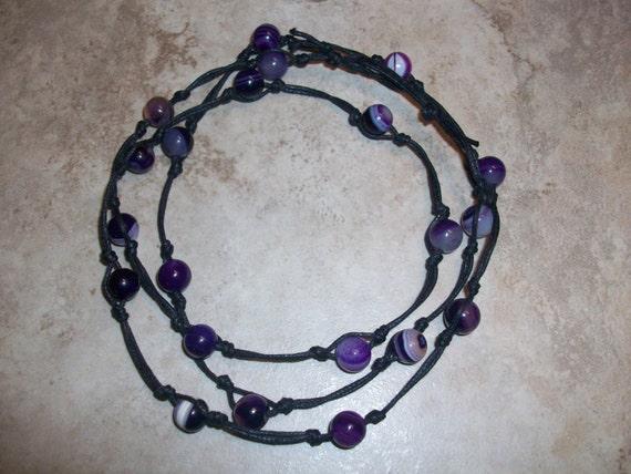 Purple Agate Mala Bracelet