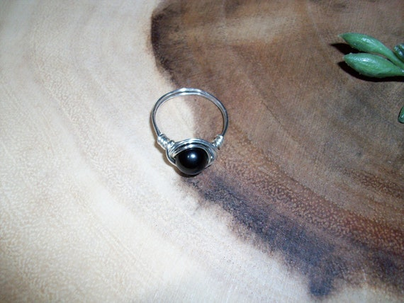 Black Obsidian 8mm Silver Color Wire Wrapped Ring Size 8