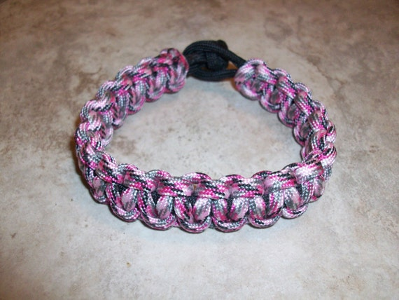 Pink Camo and Black Solomon Paracord Bracelet