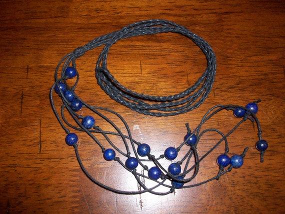 Lapis Lazuli Braided Lariat Necklace