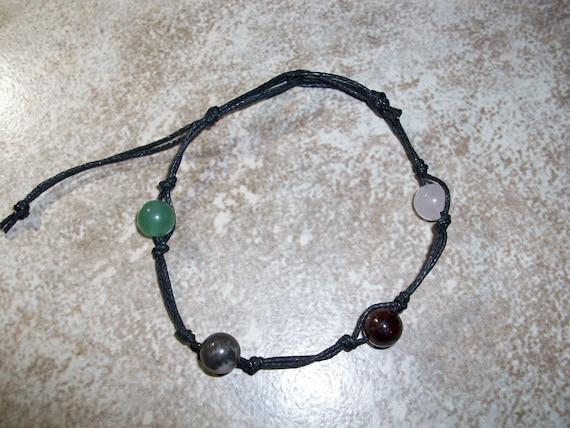 Attract Love 8mm Stackable Knotted Bracelet ~ Rose Quartz, Garnet, Rhodonite and Green Aventurine