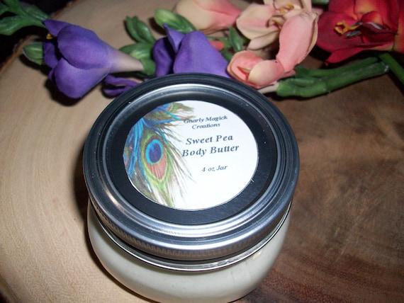 Handmade Sweet Pea Whipped Body Butter 4 oz Jar