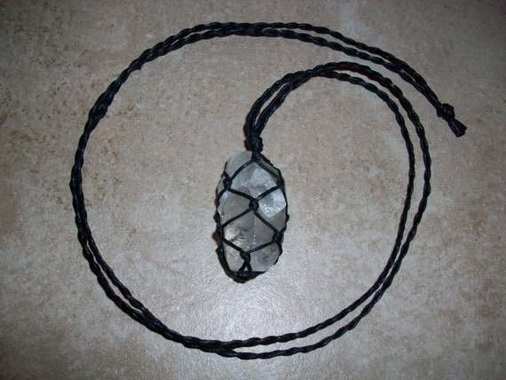 Ice Clear Calcite Braided Necklace