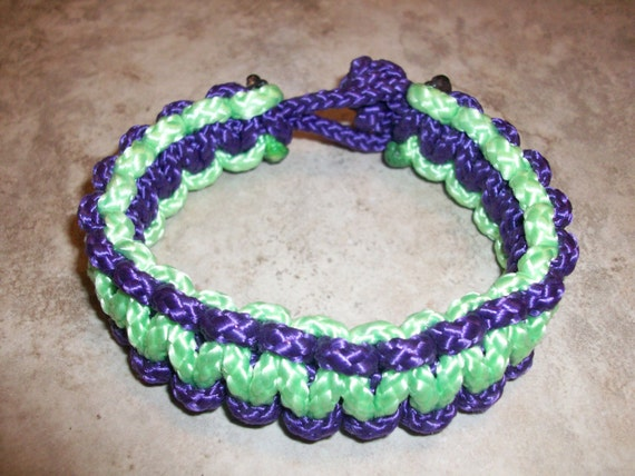 Purple and Green Solomon Paracord Bracelet