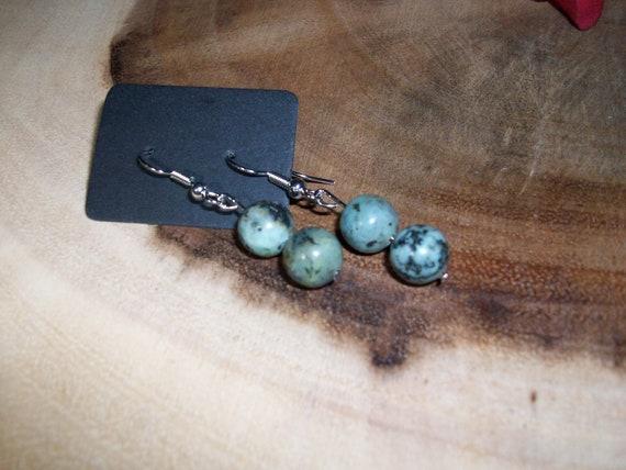 African Jasper Sterling Silver 8mm Gemstone Earrings