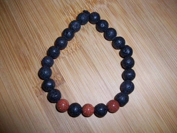 Black Lava Stone and Red Goldstone 8mm Gemstone Stretch Diffuser Bracelet