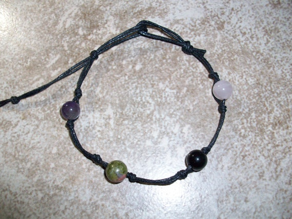 Empath 8mm Stackable Knotted Bracelet ~ Amethyst, Unakite, Rainbow Obsidian and Rose Quartz