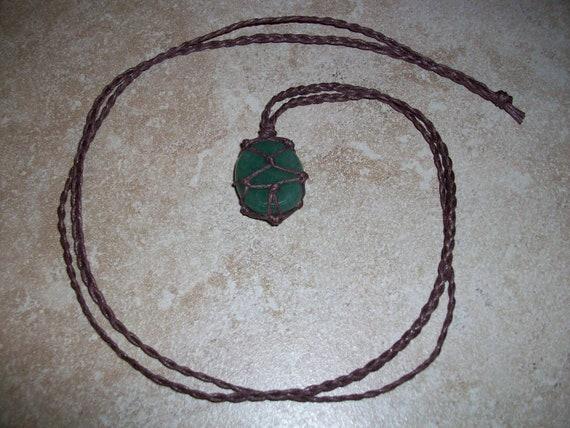 Green Aventurine Thumb Stone Braided Necklace