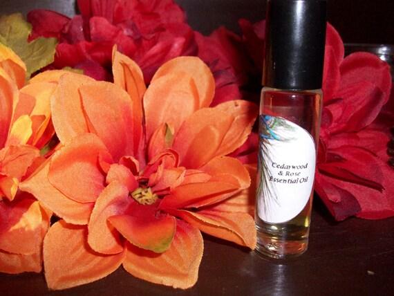 Cedarwood and Rose Essential Oil Blend 1/3 oz Roller Bottle