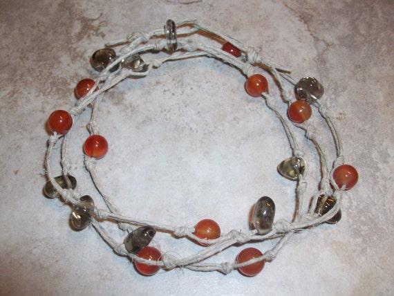 Carnelian and Smoky Quartz Mala Bracelet