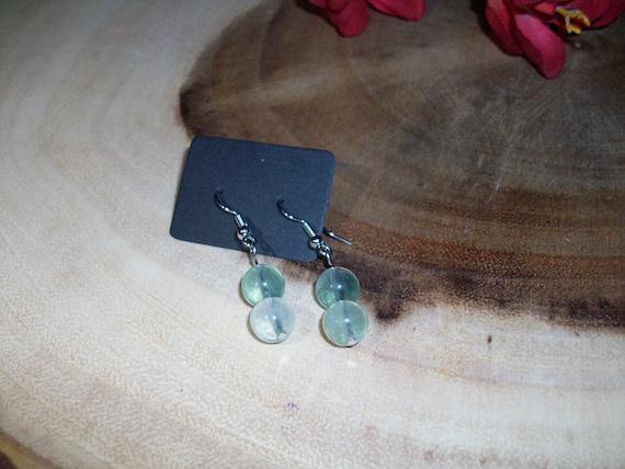 Green Fluorite Sterling Silver 8mm Gemstone Earrings