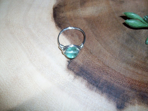 Green Fluorite 8mm Silver Color Wire Wrapped Ring Size 9