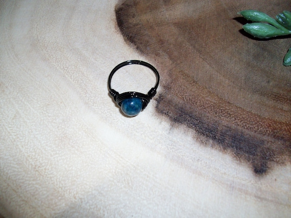 Blue Apatite 8mm Black Color Wire Wrapped Ring Size 7 1/2